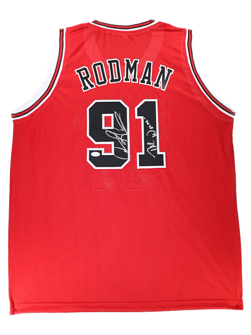 Dennis Rodman Autographed Custom Jersey (Red) The Worm