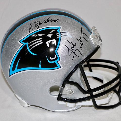 Jake Delhomme & Wesley Walls Autographed Carolina Panthers Throwback FS Helmet