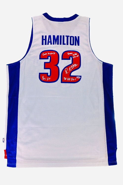Rip Hamilton Autographed Adidas Jersey w/ Inscriptions