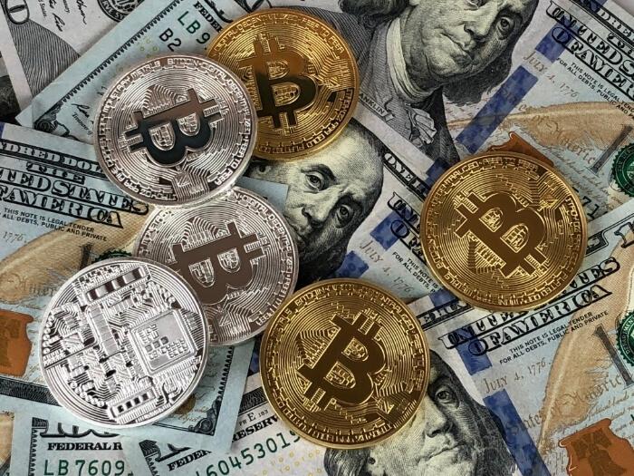 Gold and silver coins Bitcoin