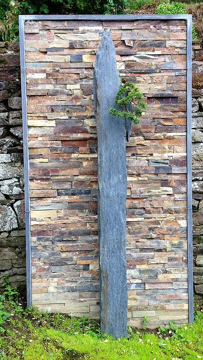 Bonsai-rocks cliff juniperus , sculpture en schiste ornée d un génévrier chinensis sculptée par arnaud desbois , equipée du watering system