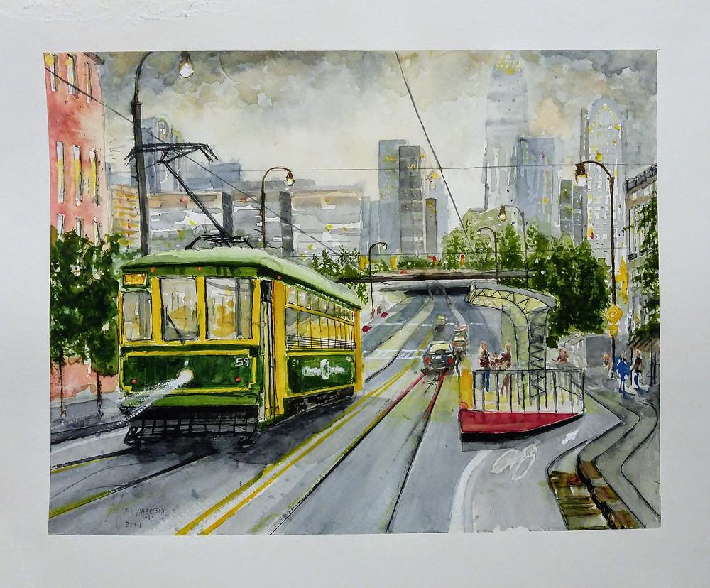 Charlotte Cityscape Watercolor by Gray Artus