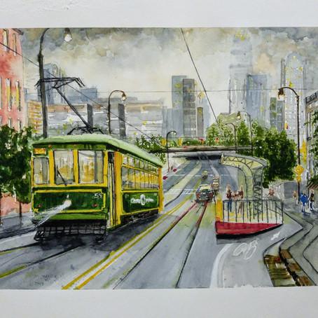 Charlotte NC cityscape in watercolor