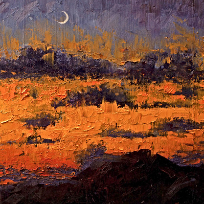 Moonrise at Sunset - Oil by Gray Artus