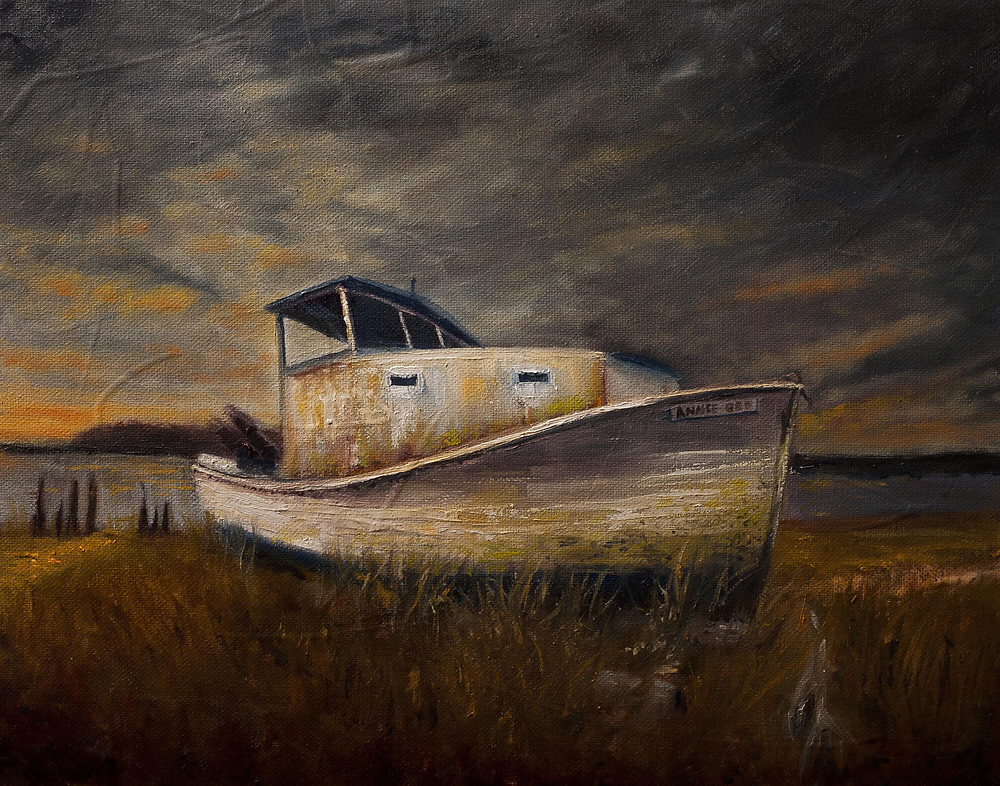 Annie Gee commercial fishing vessel dry docked in Sneads Ferry NC. Oil painting by Gray Artus Asheville North Carolina Artist