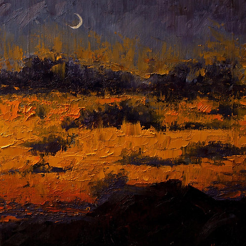 Crescent Moon at Sunset * Original Oil Painting