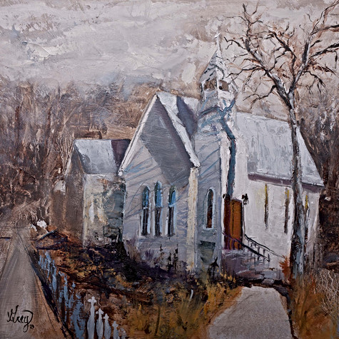 Highlands NC Chapel oil painting by Gray Artus