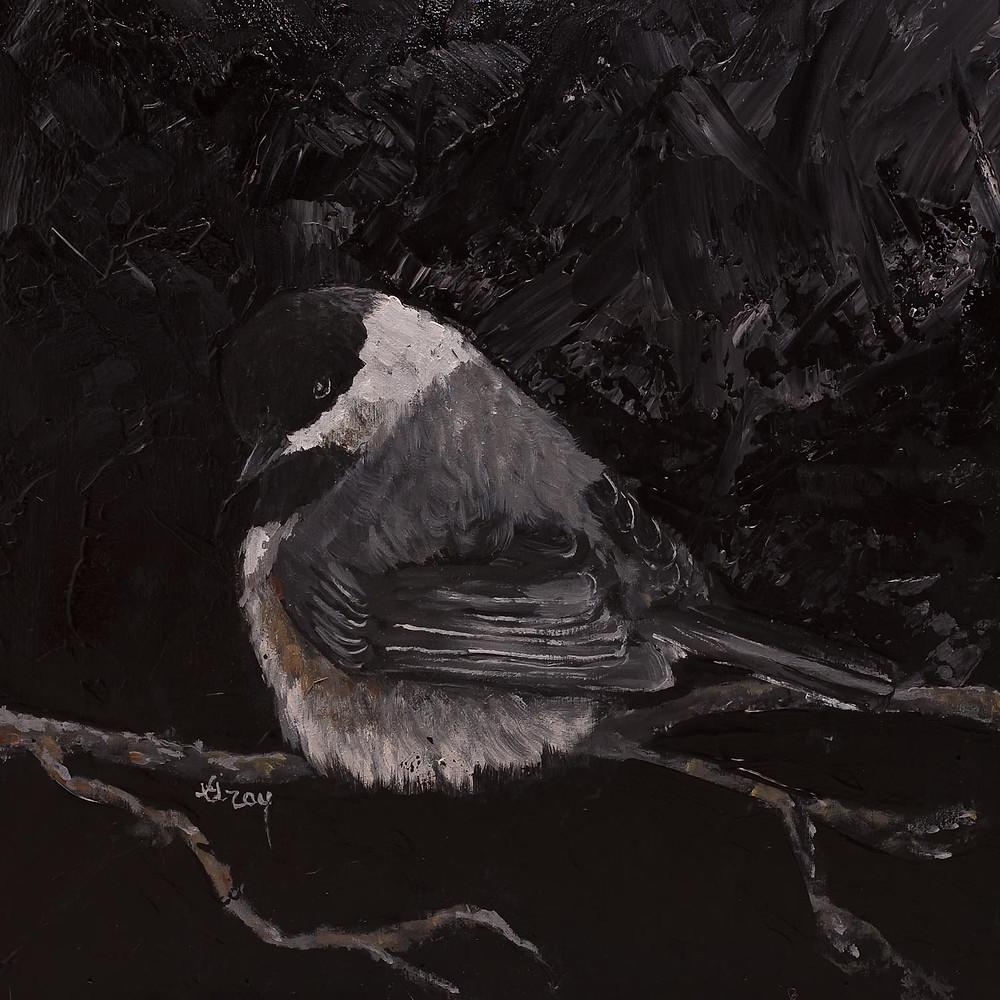 Chickadee Original Acrylic by Gray Artus