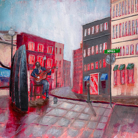 Downtown Asheville Busker on Wall Street Acrylic painting on paper