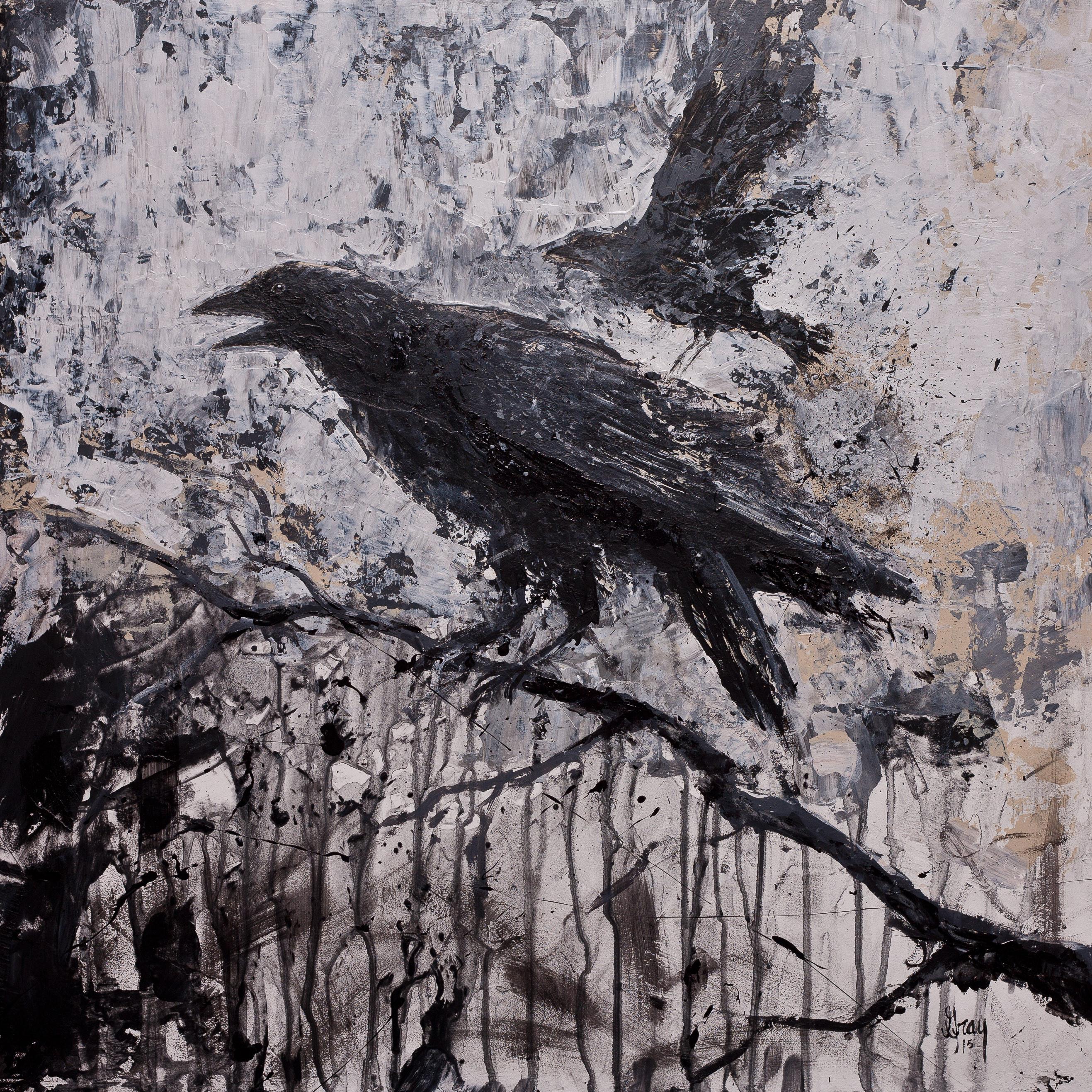 2b49b6eea5d2d Gothic Crow - Gray Artus. Modern expressionist raven black bird crow  Acrylic ...