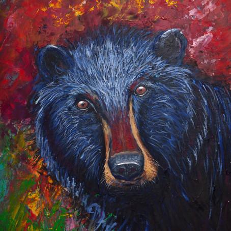Modern Black n Blue Bear