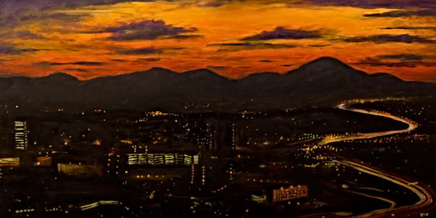 Asheville Skyline at Sunset - Gray Artus