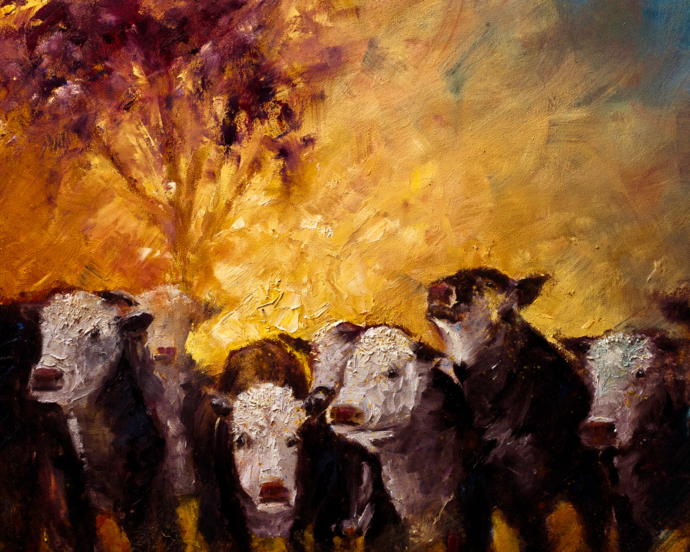 Modern expressionist oil painting of colorful farm animal portrait row of cows Asheville artist