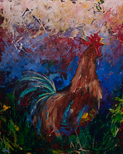 Rooster Rhode Island Red - Gray Artus