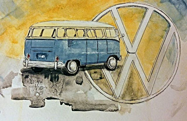 67' VW _5x7 watercolor on cold press_Www