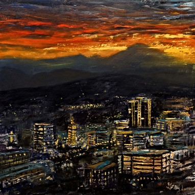 Sunset Over Downtown Asheville oil by Gr