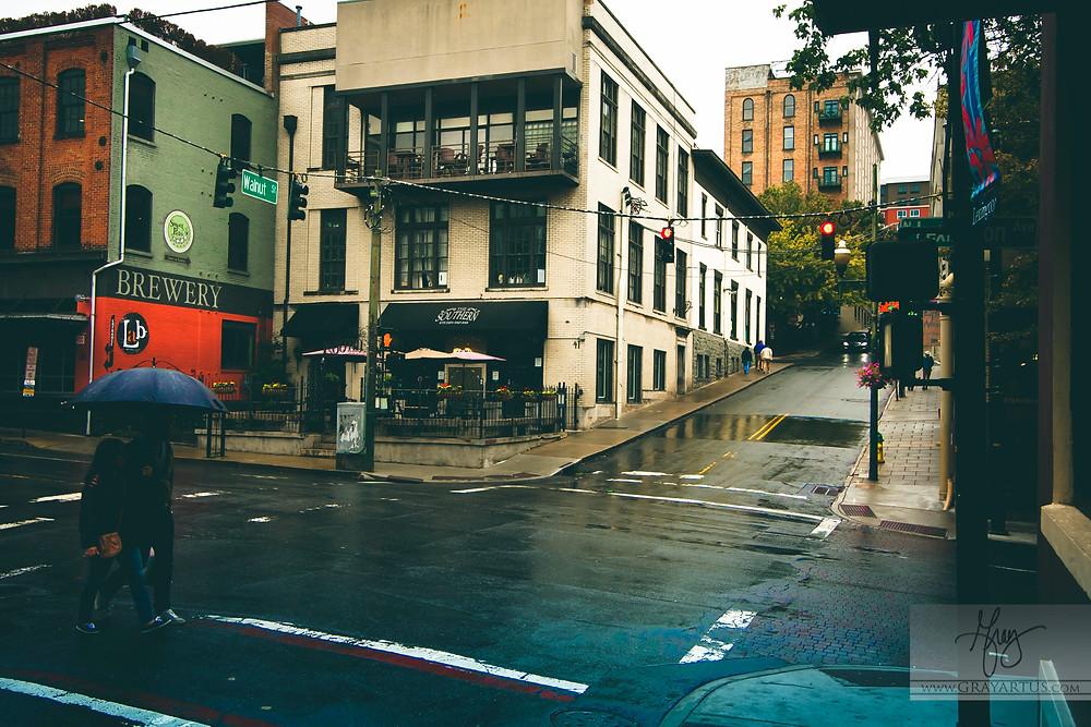 Asheville NC Rainy Streetscapes by Gray Artus