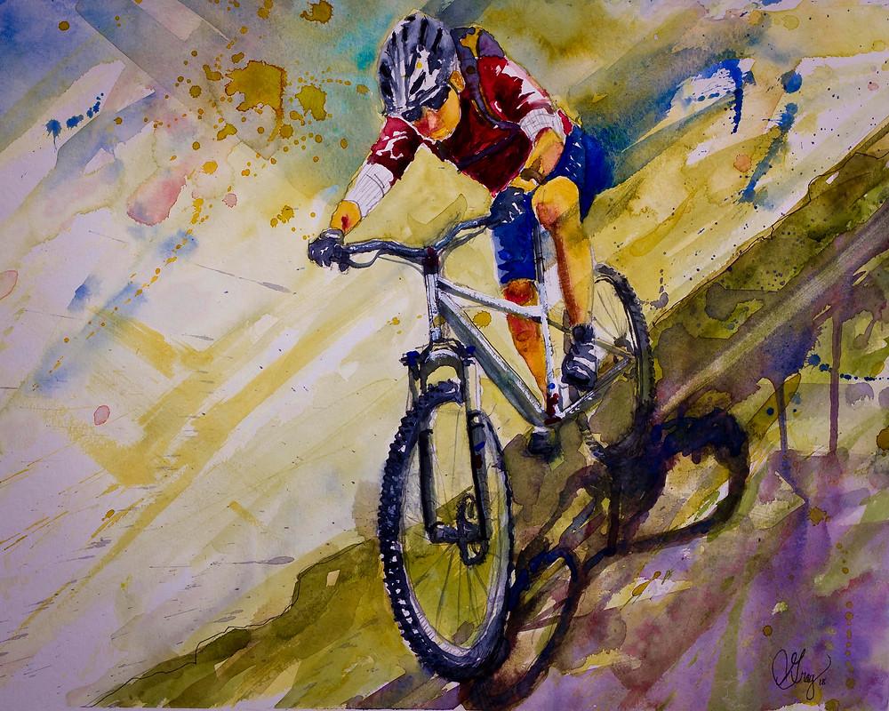 Mountain Biker watercolor on Strathmore paper