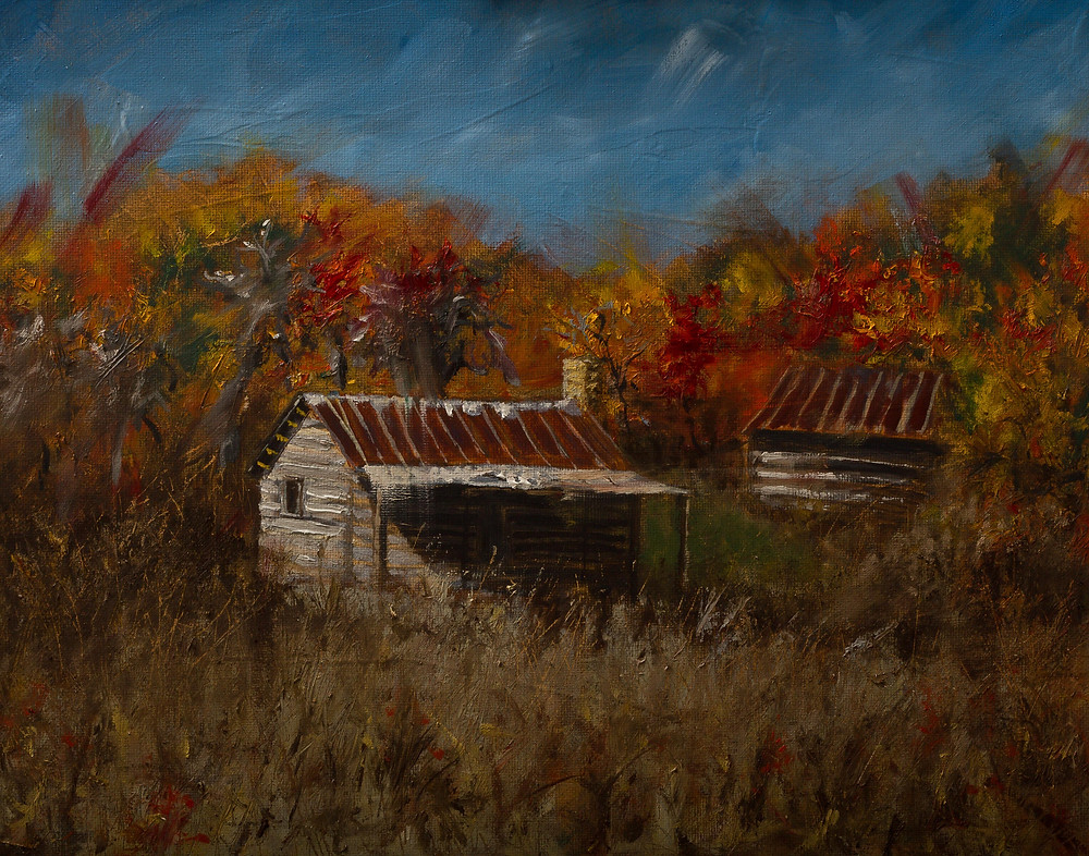 Spring Creek Cabin Oil on Panel by Gray Artus