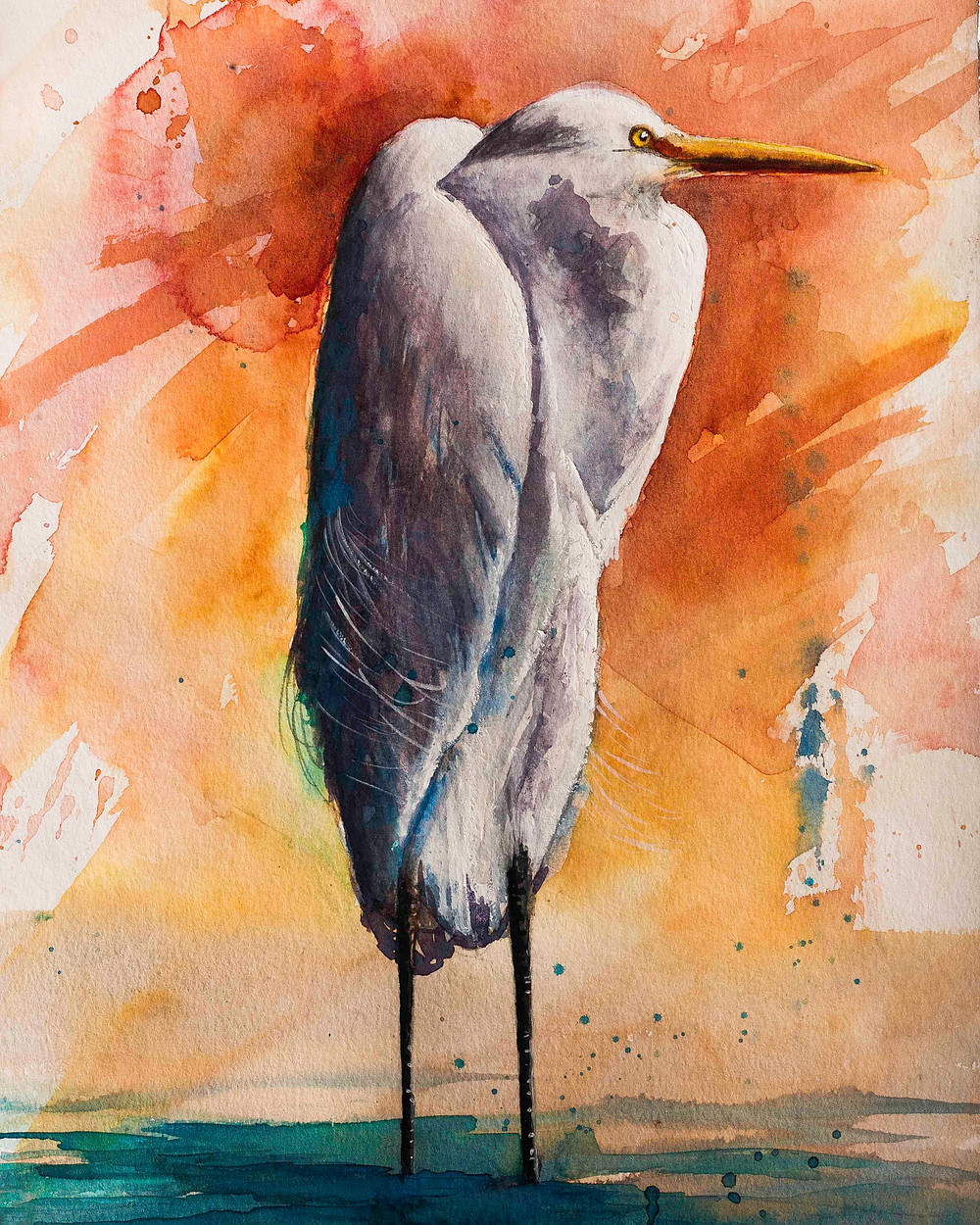 Modern expressionist watercolor painting wildlife bird art Snowy Egret White Heron, Asheville artist