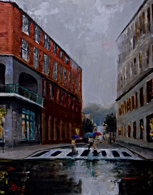 Rainy Day at West Walnut Oil paitning by
