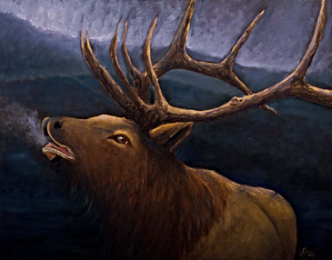 Return of the Smoky Mountain Elk Oil painting by Gray Artus