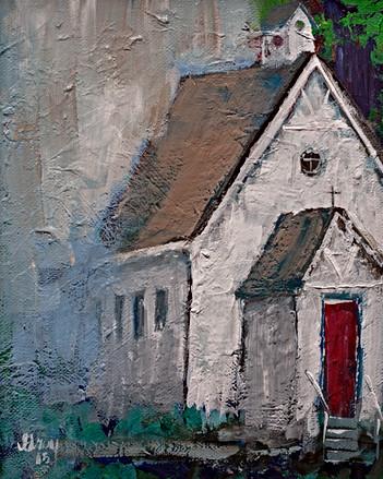 White Church Red Door - Gray Artus