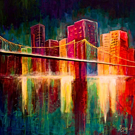 Brooklyn Bridge Manhatten New York City - Gray Artus