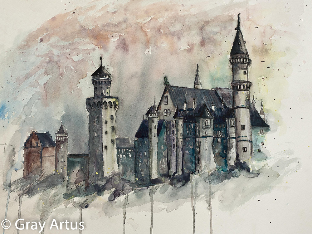 Neuschwanstein Castle Watercolor by Gray Artus