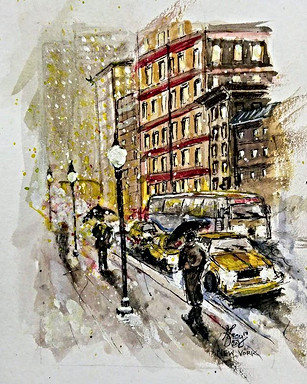 Day 20_New York _5x7 watercolor on cold