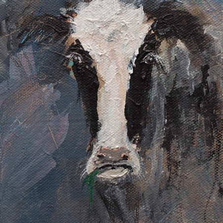 Holstein Cow Modern Expressionist Painting