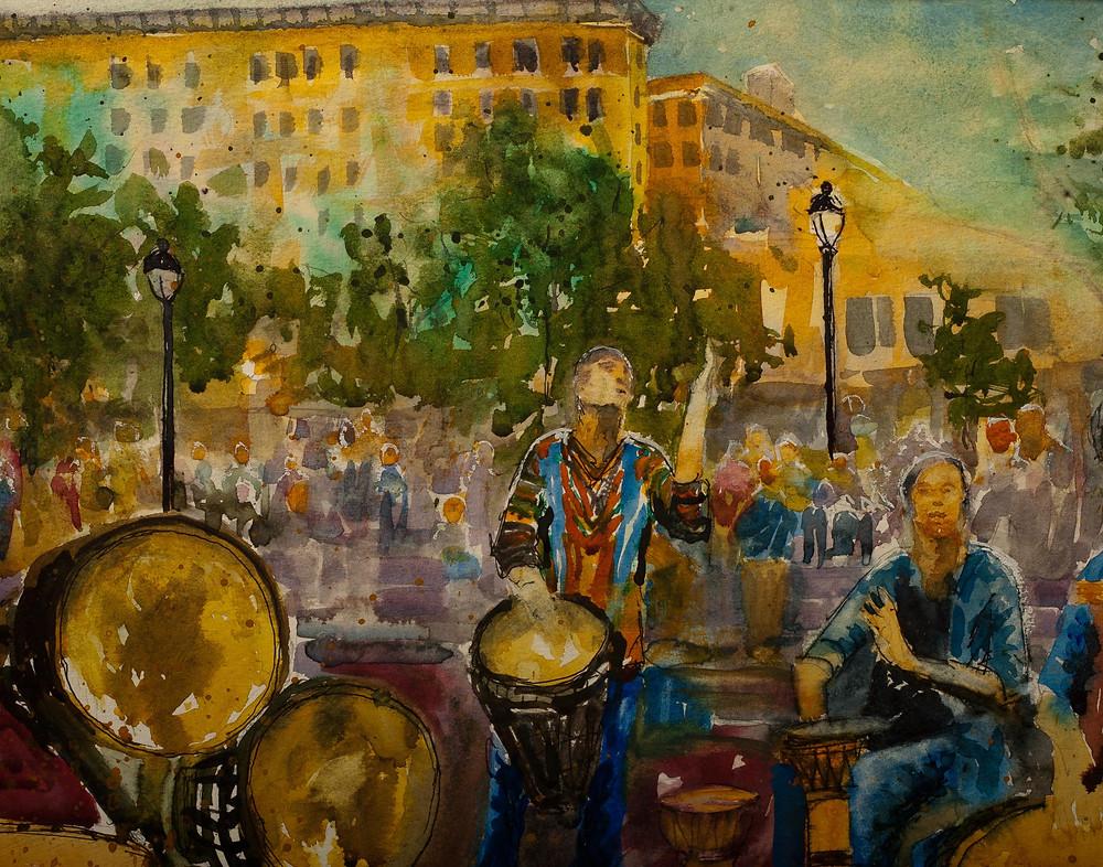 Asheville Drum Circle, Watercolor