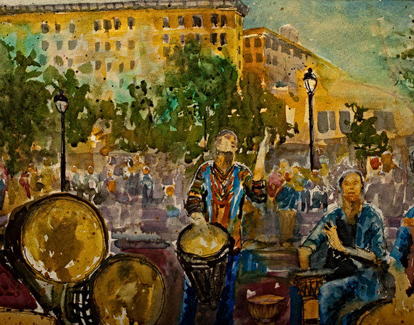 Asheville Drum Circle - Gray Artus