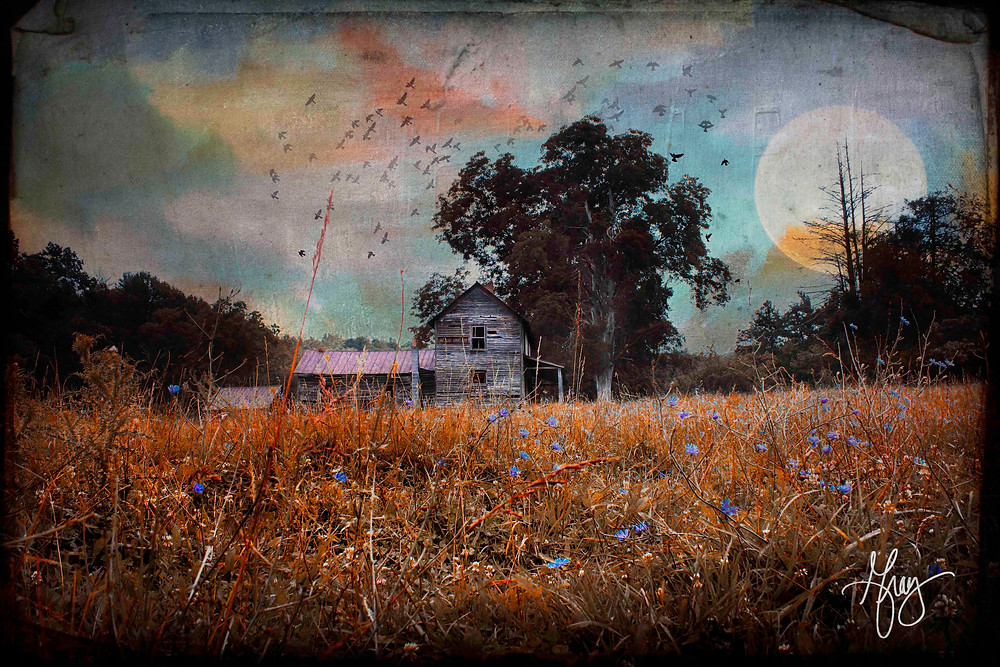 Oldest home in Leicester NC on the corner of Jones Road and Old Newfound Road photo composite art by Gray Artus