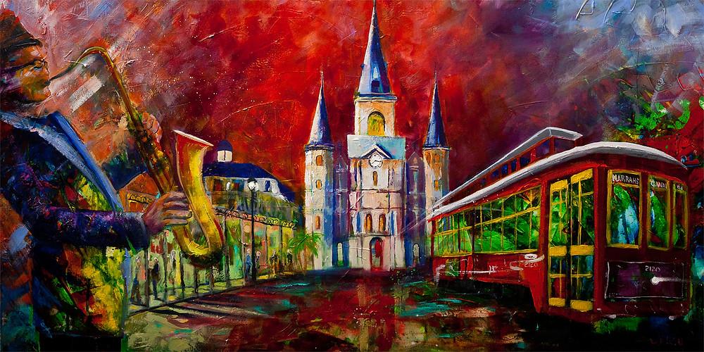 Modern expressionist Acrylic painting New Orleans, Mardi Gras and Jackson Square mashupAsheville artist