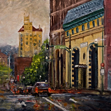 Downtown Patton Ave. Asheville NC oil by
