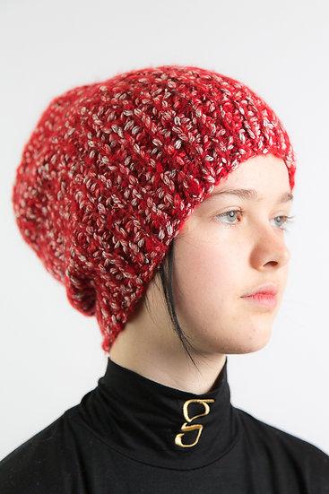 Handstrickmütze, Rot-Melange, Kaschmir/Wolle