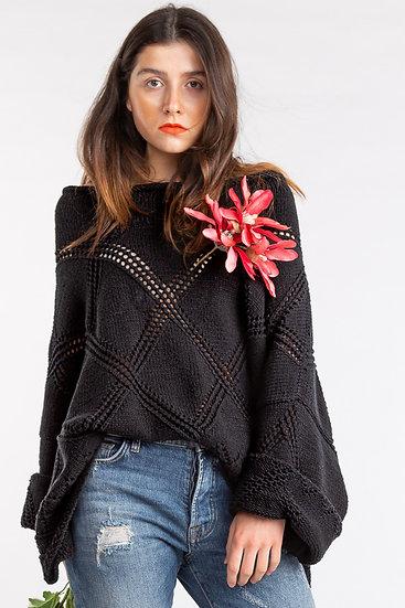 Oversize-Pullover mit Rautenmuster