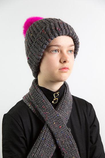 Handstrickmütze mit Schal, Kaschmir/Wolle