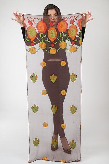 Chiffon-Schal mit Blüten