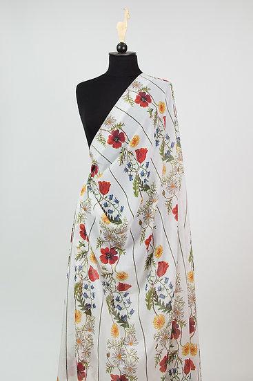 Baumwoll-Seidenbatist mit Blumenbändern