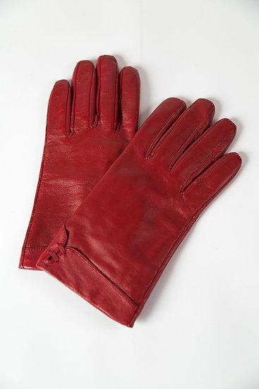 Damenhandschuhe, Leder mit Schleifen und Umschlägen