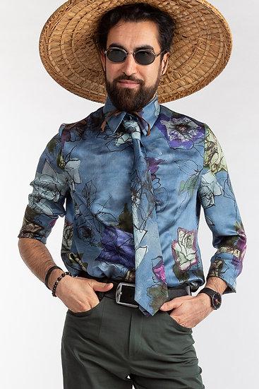 Unisex-Seidenhemd mit passender Krawatte