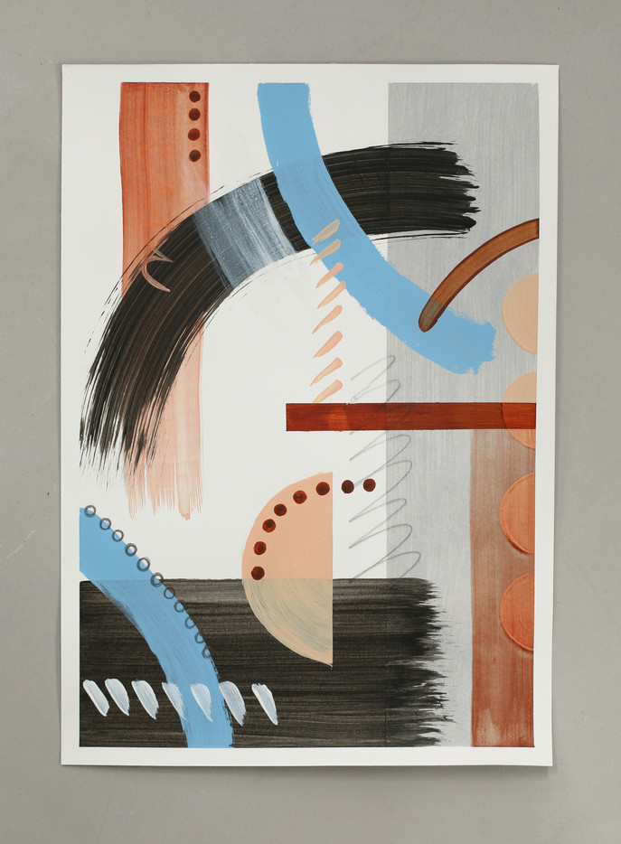 Contain This 1, acrylic and pencil on paper, 42 x 29.5 cm