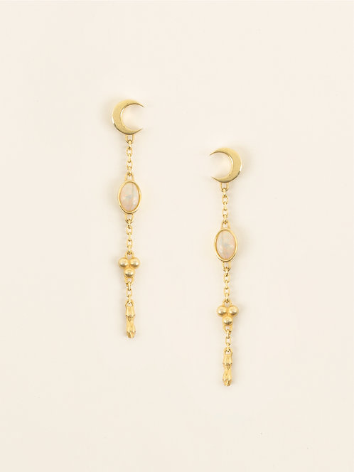 crescent earring with fire opal