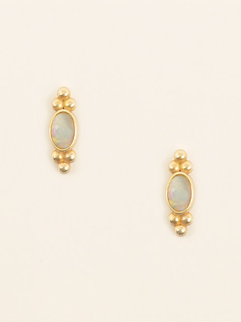 double sided three dots earring with fire opal