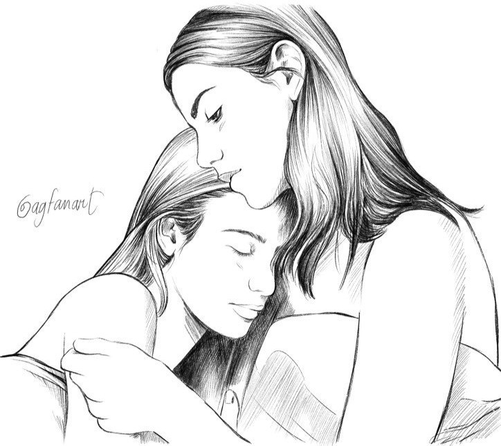 sketch of two women embracing in sheets