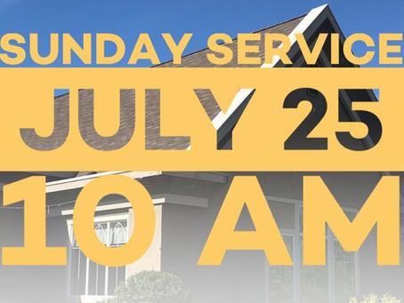Virtual Sunday Service - July 25, 2021