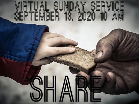 Virtual Sunday Service - September 13, 2020