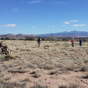 Surveying with a wagon and Mt. Taylor.